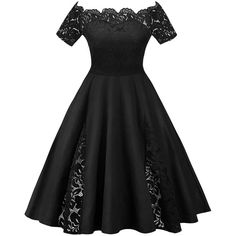 Black XL Plus Size Lace Panel Off The Shoulder Dress (23 CAD) ❤ liked on Polyvore featuring dresses, plus size off the shoulder dress, lace panel dress, lace inset dress, off-shoulder dresses and women plus size dresses