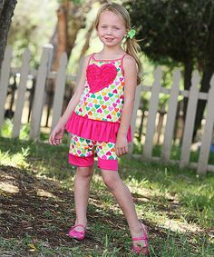 Look at this Freckles + Kitty Fuchsia Heart Peplum Tunic & Shorts - Toddler on #zulily today!
