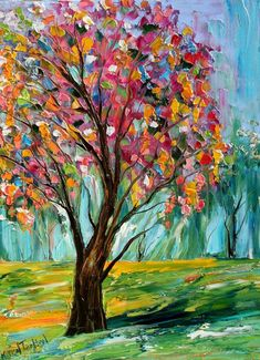 Original oil painting Spring TREE Landscape palette knife fine art impressionism by Karen Tarlton unique texture and layers of luminous oil color creating a 3 dimensional work of palette knife art Spring Tree, Tree Print, Painting Inspiration, Amazing Art, Abstract Art, Abstract Landscape, Abstract Tree Painting, Painting Trees, Landscape Sketch