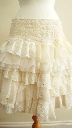 Upcycled Skirt Woman's Clothing Ivory Cream by BabaYagaFashion...I like this, just needs to be longer.