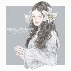 "12 Likes, 2 Comments - ツツイ モモエ(Tsutsui Momoe) (@vyvyette.ipl) on Instagram: ""2016.11.06 Lilium 'Casa Blanca' #illustration #artwork #art #girl #original #flower"""