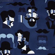 """Alexander Henry – Mister-stache – Blue - Pricing is per meter Old fashioned dapper men sporting impressive facial hair with mustaches in shades of blue and black over a dark blue background. The original hipsters. Main Colour/s: Blue Basecloth: 100% Cotton Bolt Width: 112cm (44"""") Weight: Light - Quilting and Apparel Weight Vertical Repeat: 59cm (23-1/4"""") Repeat Type: Half Drop  While we make every effort to represent colour accurately, every monitor is different and we cannot guarantee the…"""