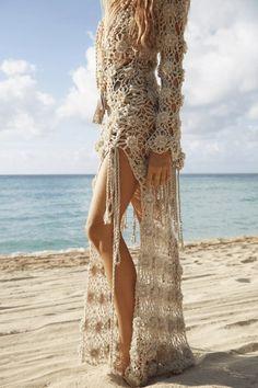 Crochet Patterns Dress Lotus Gown Hand Crochet Beige Dress – [shop name] Crochet Summer Dresses, Boho Summer Dresses, Boho Dress, Mode Crochet, Hand Crochet, Beach Crochet, Crochet Wedding, Mode Boho, Prom Dress Shopping