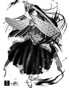 和風ゴシックロリータ風、着物と日本刀