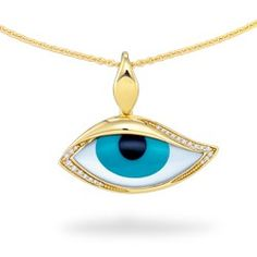 Yellow Gold Mati Eye Pendant with Onyx, Turquoise, Mother of Pearl and Diamonds (Chain Included) - White Mother of Pearl Inlay - Kabana Jewelry - Designer Collections - Collections