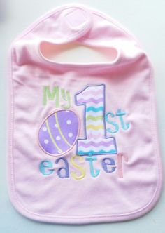 My first baby embroidered bib/onsie-baby shower gift-baby boy, girl-easter Baby Boy Gifts, Baby Shower Gifts, Baby Cover, First Baby, Lunch Box, Easter, Embroidery, Boys, Handmade Gifts