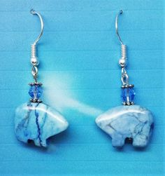 Light Blue Latice Zuni Bear Earrings, the Bear is the guardian of the mother earth by HollinsHandMade on Etsy