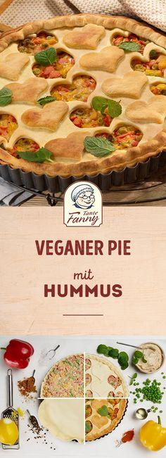 Schnell gemacht ist unsere vegane Quiche/Pie mit Hummus, Paprika und Erbsen