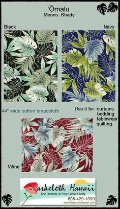 Barkcloth Hawaii.com brings you another stunner. This one is a tropical  fabric with a leafy botanical design, including palm leaf, monstera, and plumeria flowers.