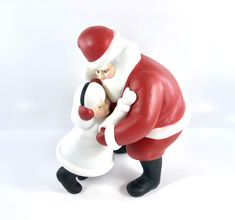 """Excited to share this item from my shop: Department 56 Silhouette Santa """"I Wuv You Santa"""" Hand Painted Porcelain Figurine Antique Items, Vintage Items, White Winter Coat, Department 56, Earmuffs, Vintage Holiday, Vintage Home Decor, Hand Painted, Painted Porcelain"""