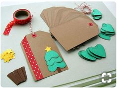 DIY Holiday Christmas Gift Tag Kit (Makes Get started on your Christmas wrapping early! This kit includes everything you need to make 12 DIY holiday/Christmas gift tags. Christmas Projects, Holiday Crafts, Christmas Holidays, Christmas Decorations, Summer Crafts, Simple Christmas, Beautiful Christmas, Christmas Labels, Christmas Trees