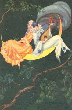 Pierrot and Pierrette 1920s Art Deco Postcard by T Corbella