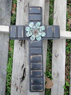Distressed Beadboard Cross with Metal Flowers by MagnoliaMarket, $40.00