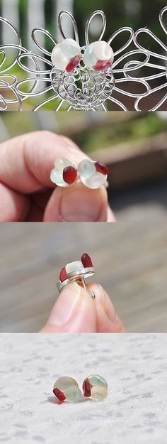 Beach Glass - Surf-Tumbled 41221: Sea Glass Jewelry Beach Earrings Post Sterling Flower Red Seafoam White 5506C -> BUY IT NOW ONLY: $33.99 on eBay!