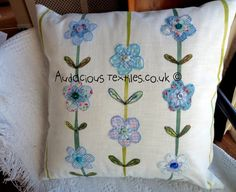 Beautiful Blues Floral Pillow / Cushion  by AudaciousTextiles, $47.00