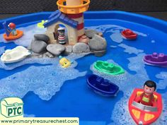 Transport Themed Water Play / Tuff Tray Ideas and Activities - Primary Treasure Chest Water Play Activities, Pirate Activities, Eyfs Activities, Infant Activities, Activities For Kids, Transportation Activities, Indoor Activities, Tuff Tray Ideas Toddlers, Eyfs Outdoor Area