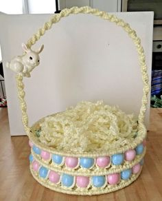Vintage Large Yellow Macrame Easter Basket