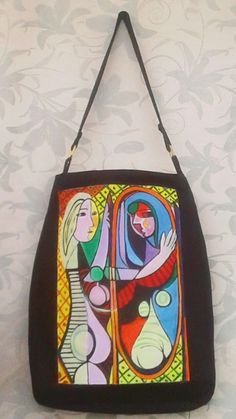 """""""La mujer frente al espejo"""" de Picasso. Pintura en acrílicos sobre tela. Bolso en drill industrial."""