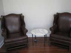 Two Leather Wing Chairs-Ethan Allen