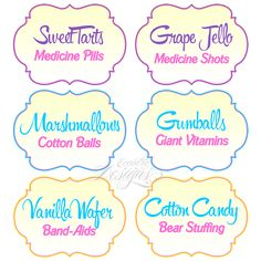 Dessert Table/Candy Buffet Labels / Child Party Ideas / Children Party Themes / Kid Party Ideas / Candy Bar / Candy Buffet / Candy Bar Ideas / Candy Buffet Table / Doc McStuffins