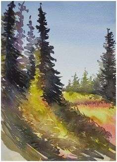 Learn to paint landscapes in watercolour, online course with Angela Fehr.