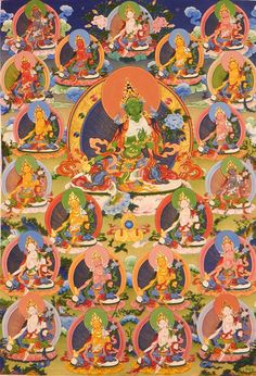 21 Taras: Thangka by Tashi Dhargyal. Mineral pigment and 24k on canvas. Blessed by HH the Dalai Lama.