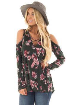 90c482d8ff2f3 Lime Lush Boutique - Black Surplice Cold Shoulder Blouse with Chest ...