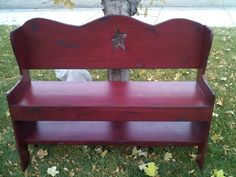 Primitive Country/Prim star cutout bench.  Custom sizes available. Buy online @ facebook.com/countrycrowcreations :)