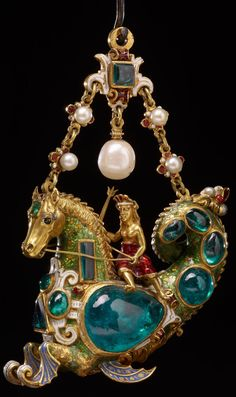Gold Pendant Set w/ Cabochon Jewels & Pearls - Late Century, Spain. The British Museum, London Renaissance Jewelry, Ancient Jewelry, Antique Jewelry, Vintage Jewelry, Antique Pearl Necklace, Victorian Jewelry, Pearl Bracelet, Crystal Necklace, Gold Necklace