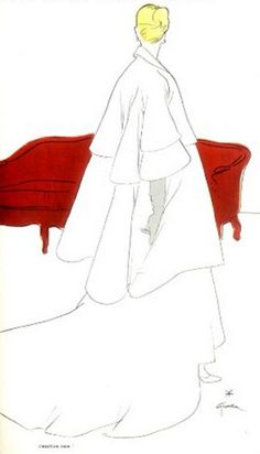 Fashion Illustration by René Gruau, 1948, Christian Dior