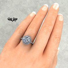 Moissanite, True Love, Trek, Halo, Diamonds, White Gold, Etsy Shop, Engagement Rings, Trending Outfits