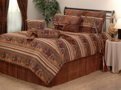 If you like your bears and canoes, you'll love the overall theme of the Jackson Hole Lodge Bedding & Decor. It's a quality bedding set that's fit for the high end lodges. It'll look great as lodge decor at home too! Rustic Baby Bedding, Western Bedding Sets, Bedding Decor, Discount Bedroom Furniture, Jackson Hole, Bed Design, House Design, Comforter Sets, King Comforter