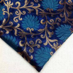Turquoise and Gold Pure Silk Fabric   Indian Silk by DesiFabrics, $7.00