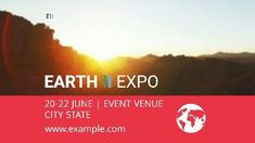 A creative expo event video template. A background of the sun shining with written text displaying earth expo event.