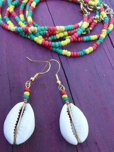 Cowrie Shell Earrings Bracelet Set Jamaican Colors by cowryshellz, $8.00