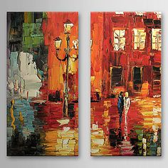 Hand Painted Oil Painting Landscape with Stretched Frame Set of 2 1308-LS0587 – USD $ 89.99