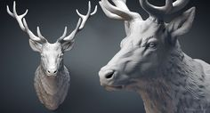 Deer Stag head sculpture. Solid 3D model. For CNC carving, 3d printing, mold making, Jewelry design: http://www.turbosquid.com/3d-models/deer-stag-head-sculpture-3d-obj/1052718/?referral=voronart