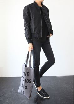 Casual Black Bomber Jacket Black T Shirt Black Jeans Black Sneakers