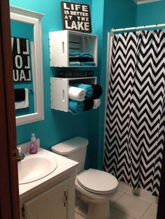 Crates painted and then used as towel storage for my redecorated bath at the lake house & 9 Great Towel Storage Ideas on Your Rest Room | Cool Design Ideas ...