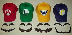 Super MARIO LUIGI WARIO WALUIGI Costume Face Pieces & Hats w/ Emblems