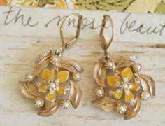 Louise.vintage enamel pearl earrings. by tiedupmemories on Etsy, $18.50
