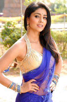 Shriya Saran In darkblue Saree with designer sleeveless Blouse Yellow Saree, White Saree, Green Saree, Pink Saree, Saree Gown, Saree Blouse, Indian Film Actress, Indian Actresses, Bridal Makeup Images