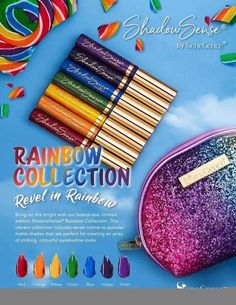 The Rainbow ShadowSense Collection by Senegence includes all 7 colors of the Rainbow: Red, Orange, Yellow, Green, Blue, Indigo, Violet.  Mix anyone of these with a little or a lot of snow (white) or Onyx (black) and create any color you can dream of!!  #rainbowcollection #rainbow #shadowsense #senegence #roygbiv #eyeshadow