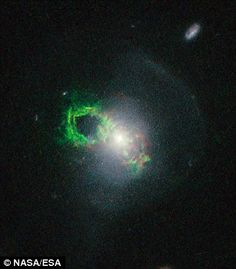 It's thought that each of these eight images represents once-invisible filaments of gas in deep space, made to glow by a passing quasar beam. This would happen through a process called photoionisation, whereby oxygen, helium, nitrogen, sulphur and neon in the filaments have absorbed light from the quasar