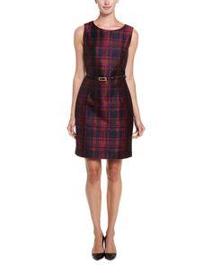 Trina Turk Lilou Midnight Jacquard Plaid Sheath Dress $129