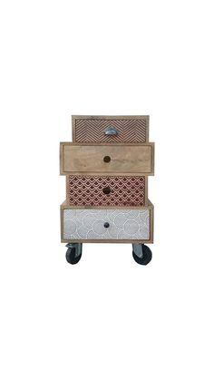 Meuble d'appoint Design multi-tiroirs sur roulettes