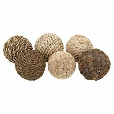 """Crafted from plant fibers, these textural orbs create a naturally-inspired vignette and make the perfect addition to your console table or desk.  Product: Set of 6 orb décorConstruction Material: Plant fiberColor: NaturalDimensions: Small: 8"""" DiameterMedium: 10"""" DiameterLarge: 15"""" Diameter"""