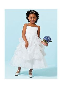 organza spaghetti straps with pick up ball gown skirt flower girl dress