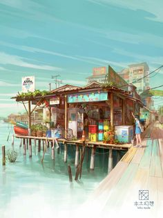 Illustration for a project base on Chew Jetty of Penang Malaysia Environment Concept Art, Environment Design, Illustration Fantasy, Art Illustrations, Drawn Art, Art Anime, Anime Scenery, Fantasy Landscape, Environmental Art