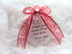 Memorial Ornament for Loved One, I thank God Everytime I Think of You, Double Heart Charm In Remembrance Of Me, M M Candy, Loss Of Loved One, Christmas Diy, Christmas Ornaments, Memorial Ornaments, Own Quotes, I Think Of You, Thank God